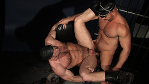 Samuel Colt & Shay Michaels in full leather gear prison fuck