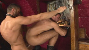 Handsome hairy males fucking in a dark dungeon in this movie
