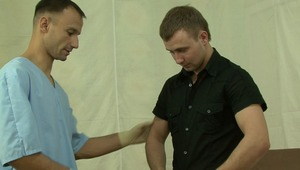 pretty gay boyfriend gets his melons fondled during his medical examination.
