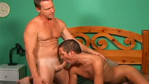 Sensual dilf get nailed by his stepson in his bed room