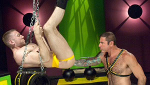 Nick plows his lube-covered fists into Rick's hungry hole!