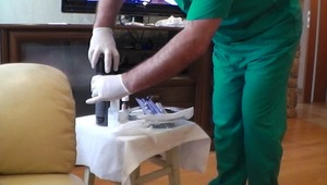 Horny doctor takes delight in cleaning up twinks pecker with sterile lube.