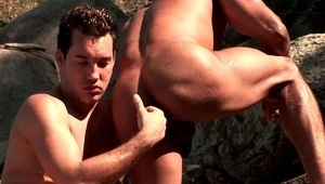 cute brunette gays Alber Charles And Anthony Gimenez licking their bronzed bodies and stroking cocks in the woods
