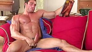 Handsome muscular lover training & masturbating with ardor