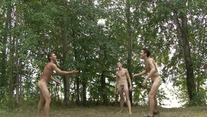 sexy twink boys are jerking their peckers wildly after playing soccer at the woods in hot gay tube.