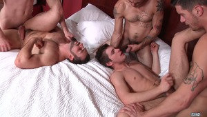 "In the first 4 episodes of MEN.COM series ""There's Something About Johnny"", Jaxton Wheeler, Jake Jammer, Johnny Forza & Ty Roderick each took a turn fucking Johnny Rapid's tight ass. Now the guys are together and insisting Johnny pick one of them. What el"