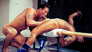 baseball player gets oral sex before fucking in locker room.