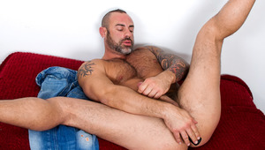 hot mature stud with hair and tattoos fucks dildos with butt
