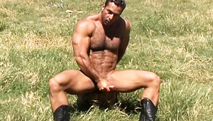 pretty woodcutter stops his job & begins jerking off his cock!