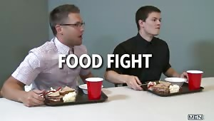 Tyler Sweet and a nerdy Bobby Clark are having lunch in the cafeteria when a food fight breaks out!  The guys hit the shower to get cleaned up and things get hardcore pretty fast!