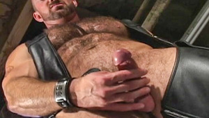 Eric Evans in his final sex tape, a solo leather/muscle fantasy
