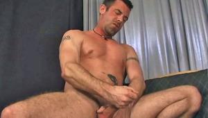 Hot tattooed dude having some nice solo masturbation action