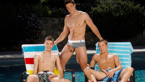 Trystan and 2 twinks are taking some pictures by the pool.