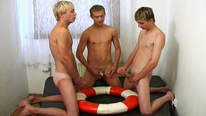 three males in circle wanking off their penis with satisfaction