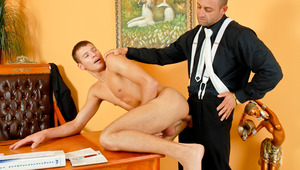 Muscular man in a suit mounts younger slut in his tight behind!
