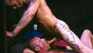 Hot tattooed hunk rides cougar muscular beefcake in the booty