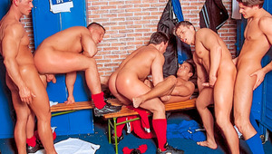 After the game's done the horny team gets into a 6-man orgy
