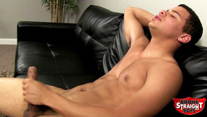 Meet lad of the country Kaden. This newbie is stocked with everything, from a smoking hot body to a ravishing face. And his uncut dong is a perfect treat. He begins jerking slowly, but works himself over until his abs are covered in juicy lover nectar!