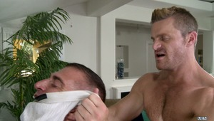 A potentially smelly situation gets hot when JR Bronson admits he would get off on the sexy aromas from Landon Conrad's pits and crotch. After the guys get to fucking, JR is still horny for raunchy man odor so he buries his face in one of Landon's shoes a