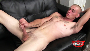 Cage is eager to make some money showing off for the camera. The fit 20-year-old has a rock hard cock, and an open attitude. And his jizz shot! Wow! 5 spurts of guy nectar that cover his shoulder, chest and stomach.