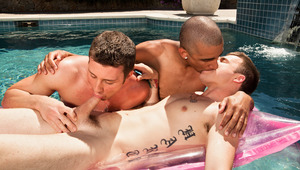 three hot twinks are dickin around in a pool and wind up fuckin