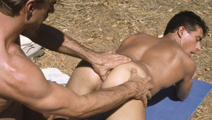 Alex down on his knees blowing the hiker's plump love muscle