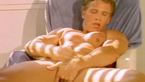 A muscular bike rider have a spa & enjoy a lonely pleasure