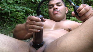 Diego is stroking and pumping his hard schlong in the woods.
