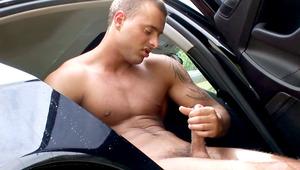 Jason has enough to wash this car & starts wanking his dong!