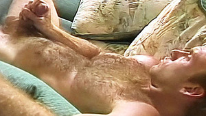 Hot blondie gardener strokes his hairy chest and hard penis