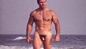 Hot dudes walking naked on the beach showing their massive dongs