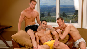 These three hot buddies are working hard for the next scene.