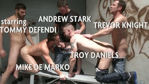 The final scene from the TALES OF A JOHN series is an orgy featuring 5 of the hot regulars from the roughest and hottest hookup john in town!  Mike De Marko, Andrew Stark & Troy Daniels get fucked by Tommy Defendi & Trevor Knight!