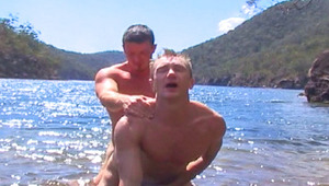 hot studs suck dong and have outdoor anal sex on the beach