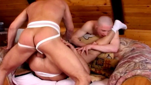 three awesome gay males having a threesome in a hotel room