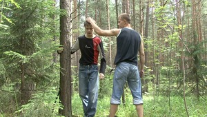 Horny master is lashing out his fetish of twink captured boys little booty during bdsm sex at the woods.