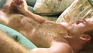 Hot blondie gardener strokes his hairy chest and hard dick