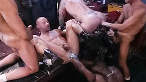 two tops fuckfisting 3 bottoms on a asshole bonanza