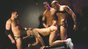 4 hot and horny fetish fuckers have group sex underground