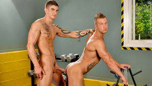 Join these two pretty studs for a backstage gym photo shoot!