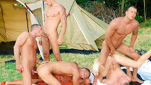 five campers start an orgy with stuffed holes & a sticky finish