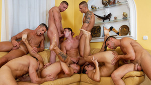 A horny bunch of guys are getting ready for some hot action!