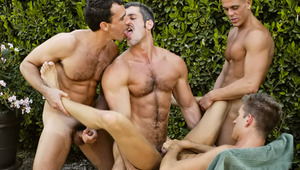 A steamy session of meat blowing, rimming, and group fucking
