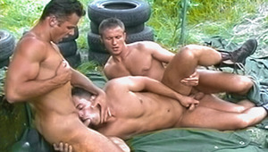 3 buff military studs sweat blow & fuck in the bright outdoors