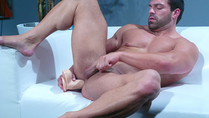 Muscle guy Vince getting off on sex toys in the backroom