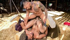 Drifter Boomer pile-drives into farmhand Tony in an mature barn