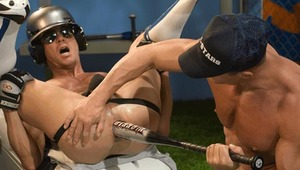 Saint lubricates a gigantic bat to work a hungry hole to frenzy!