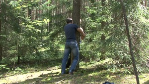 As master ties up pretty gay man at the tree, he is filled with lusty needs to torture him senseless in bdsm tape.
