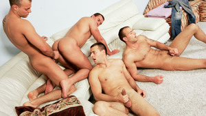 Jimmy, Jason and Joey Visconti in a hot orgy on the sofa