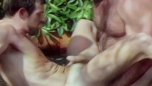 Hot gay lovers eats & rides hard in their hot tub after work